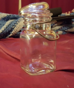 Clear Glass Decorative Jar with Steel Click Brace